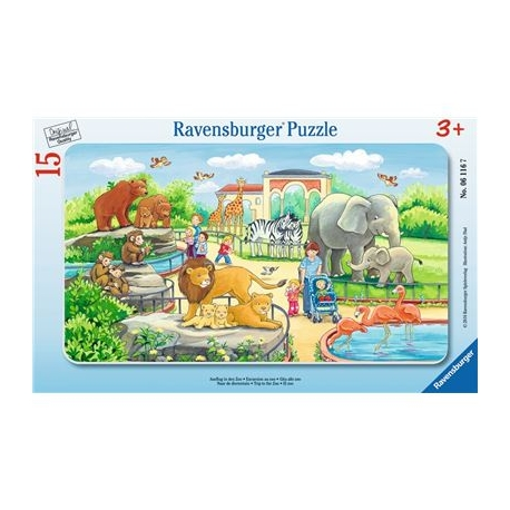 Ravensburger Puzzle - Rahmenpuzzle - Ausflug in den Zoo, 15 Teile