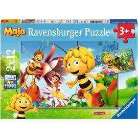 Ravensburger Puzzle - Biene Maja auf der Blumenwiese, 2x12 Teile