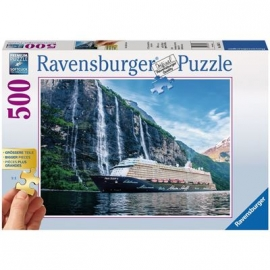 Ravensburger Puzzle - Mein Schiff 4 im Fjord, 500  XXL-Teile