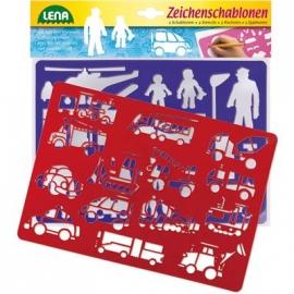 Lena - Pre School - Zeichenschablonen Fahrzeuge und Menschen
