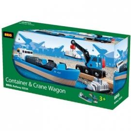 BRIO Bahn - Containerschiff mit Kranwagen