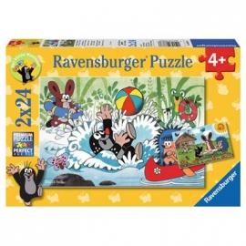 Ravensburger Puzzle - Urlaub mit Maulwurf und seinen Freunden, 2x24 Teile