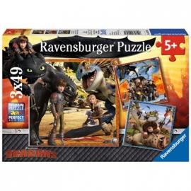 Ravensburger Puzzle - Drachenreiter, 3 x 49 Teile