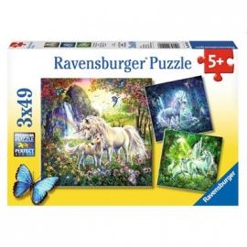 Ravensburger Puzzle - Schöne Einhörner, 3 x 49 Teile