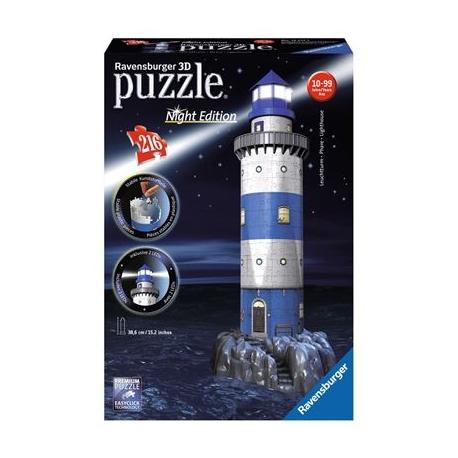 Ravensburger Puzzle - 3D Vision Puzzle - Leuchtturm bei Nacht, 216 Teile