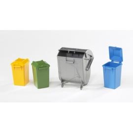 BRUDER - Zubehör: Mülltonnen-Set (3 kleine, 1 große Tonne)