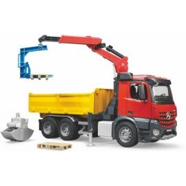 BRUDER - MB Arocs Baustellen LKW mit Kran, Schaufelgreifer und 2 Paletten