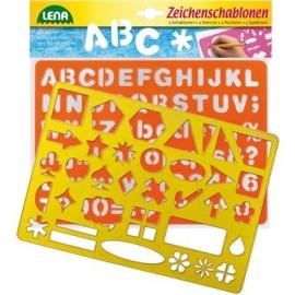 Lena - Pre School - Zeichenschablonen Alphabet und Zahlen und Zeichen