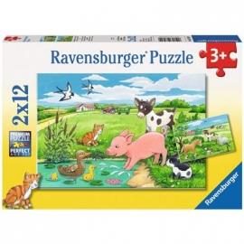 Ravensburger Puzzle - Tierkinder auf dem Land, 2 x 12 Teile