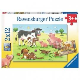 Ravensburger Puzzle - Glückliche Tierfamilien, 2 x 12 Teile