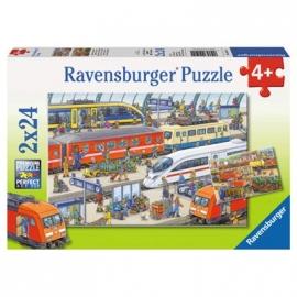 Ravensburger Puzzle - Trubel am Bahnhof, 2x24 Teile