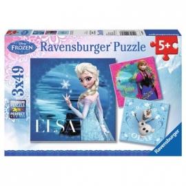 Ravensburger Puzzle - Frozen: Elsa, Anna & Olaf, 3 x 49 Teile