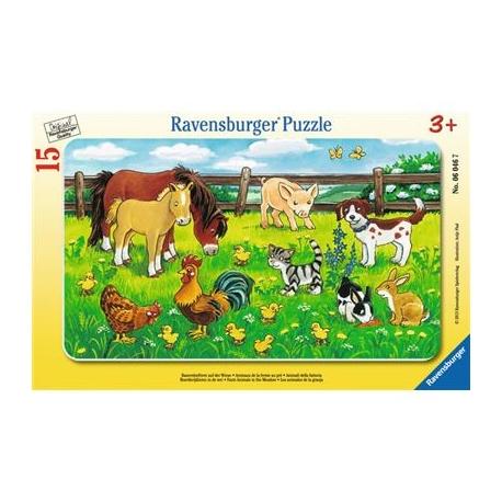 Ravensburger Puzzle - Rahmenpuzzle - Bauernhoftiere auf der Wiese, 15 Teile