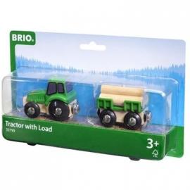 BRIO Bahn - Traktor mit Holz-Anhänger
