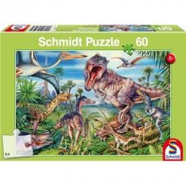 Schmidt Spiele - Puzzle - Bei den Dinosauriern, 60 Teile