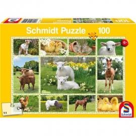 Schmidt Spiele - Puzzle - Tierkinder auf dem Bauernhof, 100 Teile
