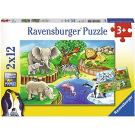 Ravensburger Puzzle - Tiere im Zoo, 2x12 Teile