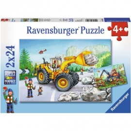 Ravensburger Puzzle - Bagger und Waldtraktor, 2x24 Teile