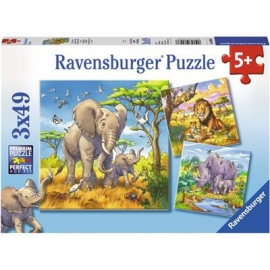 Ravensburger Puzzle - Wilde Giganten, 3x49 Teile