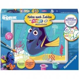 Ravensburger Spiel - Malen nach Zahlen mit farbigen Motivlinien - Findet Dory