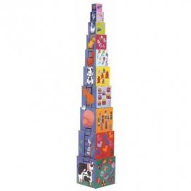 Djeco - Stapelturm: 10 funny blocks