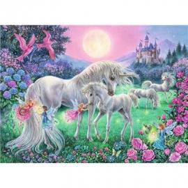 Ravensburger Puzzle - Dreifarbiges Leuchtpuzzle - Einhörner im Mondschein, 100 Teile