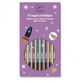 Djeco - Farben - 8 metallic pencils