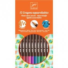Djeco - Farben - 12 watercolour crayons - classic