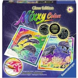 Ravensburger Spiel - Malen und Basteln - Glow Edition Mixxy Colors - Welt der Delfine