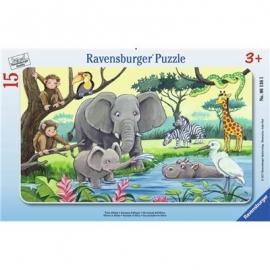 Ravensburger Puzzle - Rahmenpuzzle - Tiere Afrikas, 15 Teile