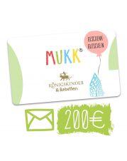Gutschein für unser Geschäft MuKK, welcher per Post versandt wird.