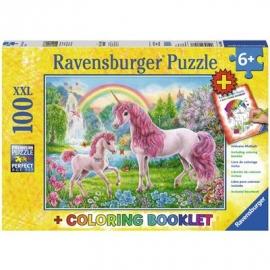 Ravensburger Puzzle - Magische Einhörner XXL plus Coloring Booklet, 100 Teile
