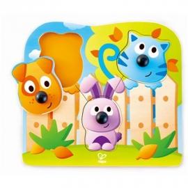 Hape - Knopfpuzzle Haustiere, 4 Teile