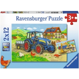 Ravensburger Puzzle - Baustelle und Bauernhof, 12 Teile