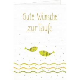 Grußkarte Gute Wünsche zur Taufe (weiss)