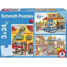Schmidt Spiele - Feuerwehr und Polizei, 24 Teile