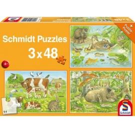 Schmidt Spiele - Tierfamilien, 48 Teile