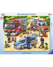 Ravensburger Puzzle - Rahmenpuzzle - Feuerwehr & Krankenwagen, 30 Teile