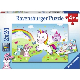 Ravensburger Spiel - Süße Pferdefotos, 2x24 Teile