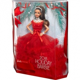 Mattel - Barbie Signature Holiday Barbie Puppe, brünett mit Pferdeschwanz