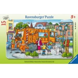 Ravensburger 061624 Puzzle: Unterwegs mit der Müllabfuhr, 15 Teile