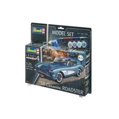 REVELL 67037 Modellbausatz  58 Corvette Roadster 1:25 mit Basisfarben, ab 12 Jahre