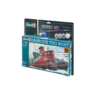 REVELL 65207 Modellbausatz Hafenschlepper Harbour Tug Boat 1:108 mit Basisfarben, ab 10 Jahre