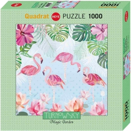 Heye - Standardpuzzle - Flamingos and Lilies Square 1000 Teile