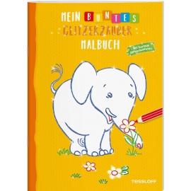 Tessloff - Malen & Rätseln und mehr - Mein buntes Glitzerzauber-Malbuch, Elefant/gelb