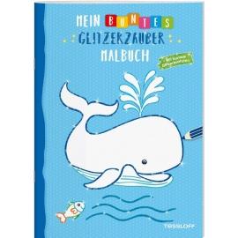 Tessloff - Malen & Rätseln und mehr - Mein buntes Glitzer-Malbuch, Wal/blau