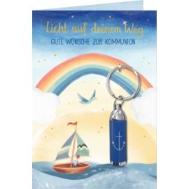 Grußkarte ... zur Kommunion m.Taschenlampen-Anh.(Blau/Anker)