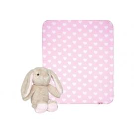 Geschenkset Plüschhase+Decke BabyGlück, rosa