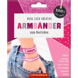 Armbänder z. Besticken: Glitzer-Optik pink 100%