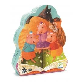 Djeco - Formenpuzzle: The 3 little pigs - 24 pcs